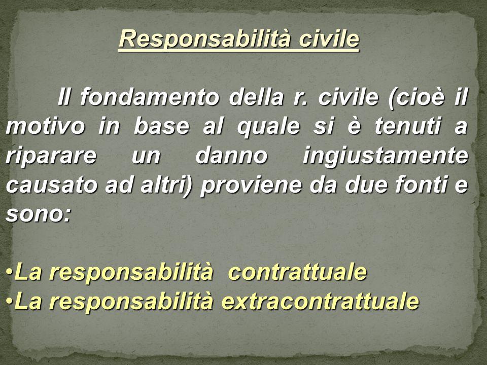 Responsabilità civile Responsabilità civile Il fondamento della r. civile (cioè il motivo in base al quale si è tenuti a riparare un danno ingiustamen