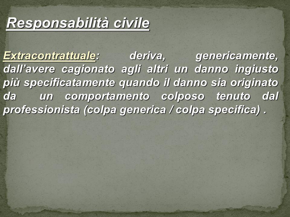 Responsabilità civile Responsabilità civile Extracontrattuale: deriva, genericamente, dallavere cagionato agli altri un danno ingiusto più specificata
