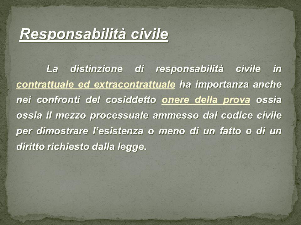 Responsabilità civile Responsabilità civile La distinzione di responsabilità civile in ha importanza anche nei confronti del cosiddetto ossia ossia il