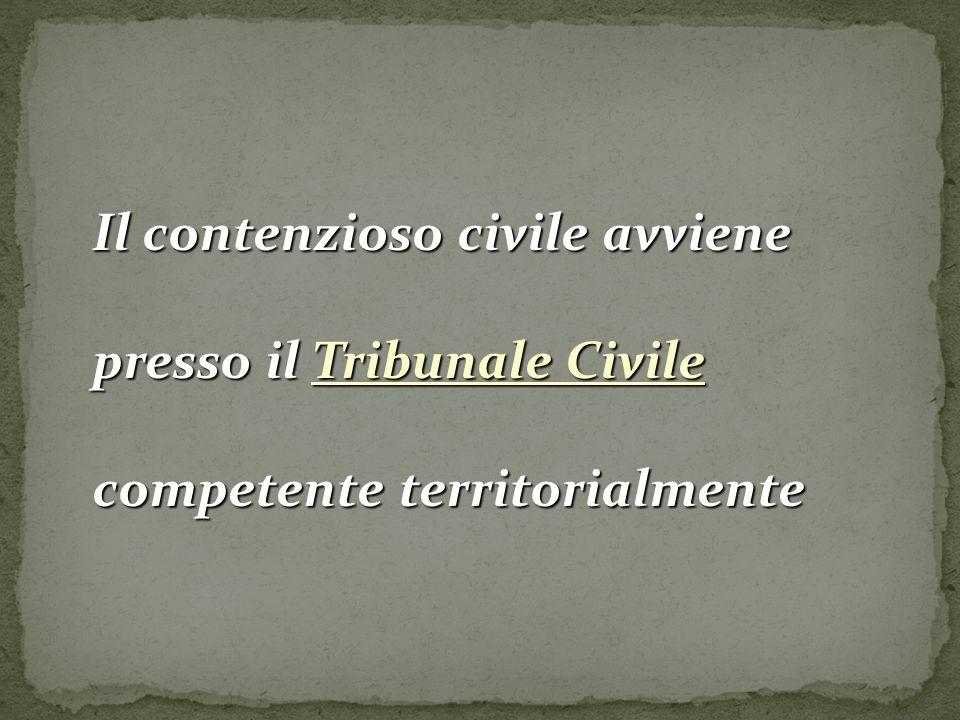 Il contenzioso civile avviene presso il Tribunale Civile competente territorialmente