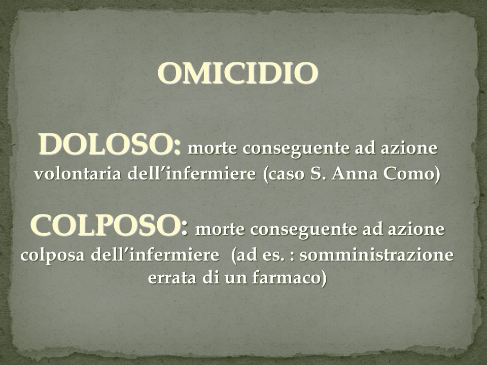 OMICIDIO DOLOSO: morte conseguente ad azione volontaria dellinfermiere (caso S. Anna Como) COLPOSO: morte conseguente ad azione colposa dellinfermiere