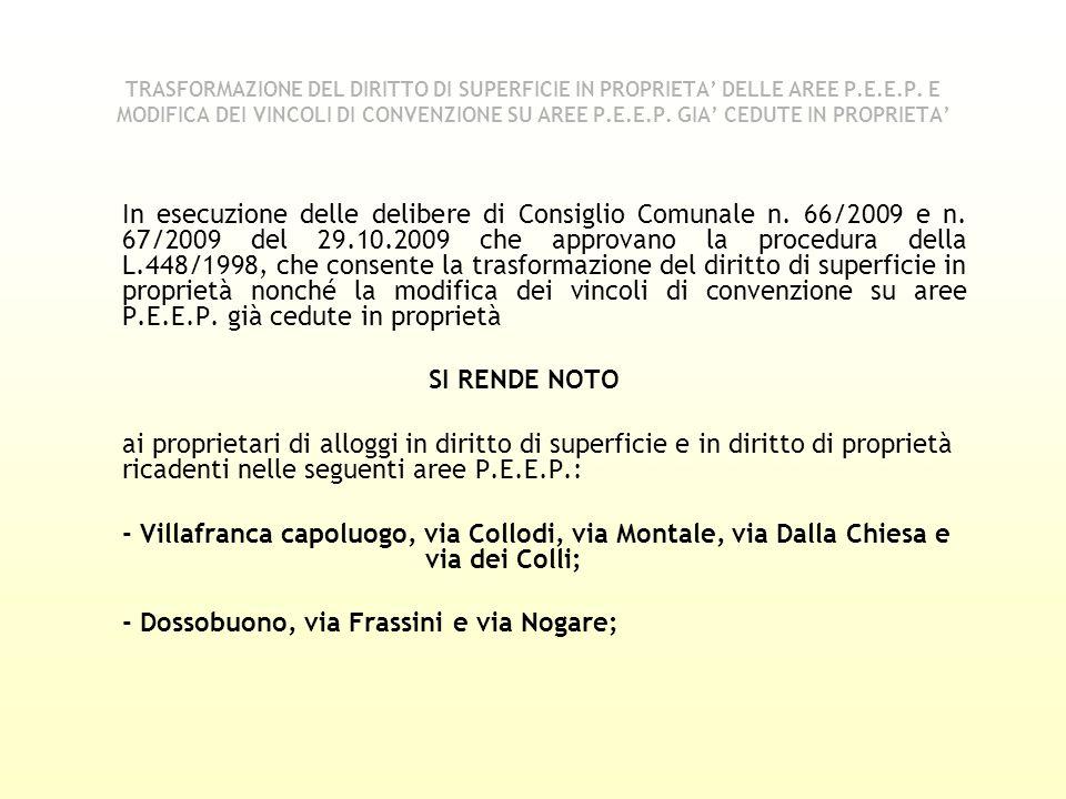 In esecuzione delle delibere di Consiglio Comunale n. 66/2009 e n. 67/2009 del 29.10.2009 che approvano la procedura della L.448/1998, che consente la