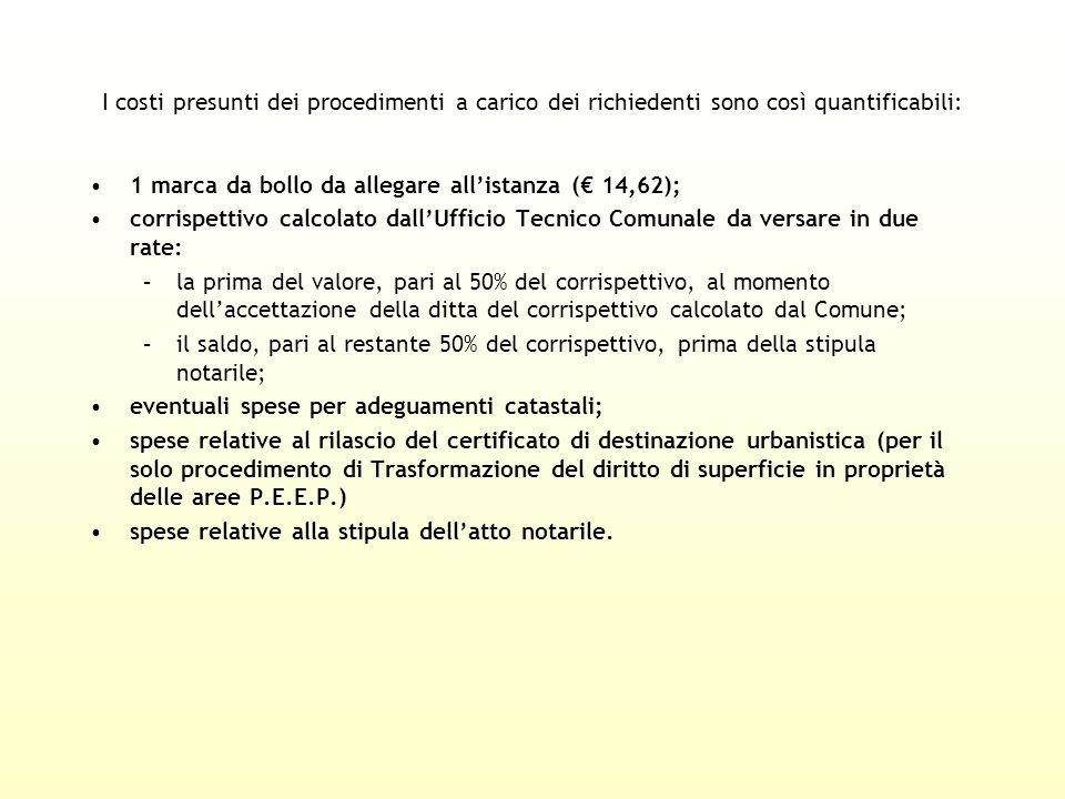 I costi presunti dei procedimenti a carico dei richiedenti sono così quantificabili: 1 marca da bollo da allegare allistanza ( 14,62); corrispettivo c