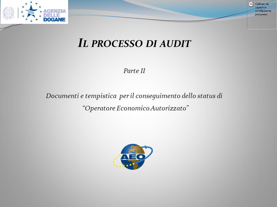I L PROCESSO DI AUDIT Parte II Documenti e tempistica per il conseguimento dello status di Operatore Economico Autorizzato