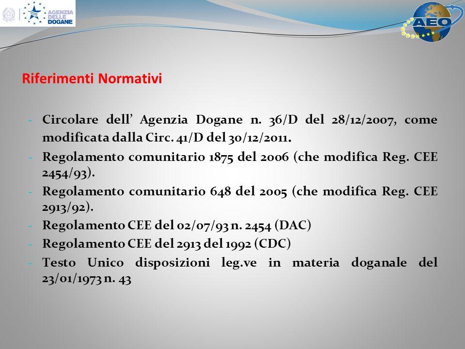 Riferimenti Normativi - Circolare dell Agenzia Dogane n.