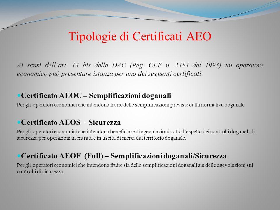 Tipologie di Certificati AEO Ai sensi dellart.14 bis delle DAC (Reg.