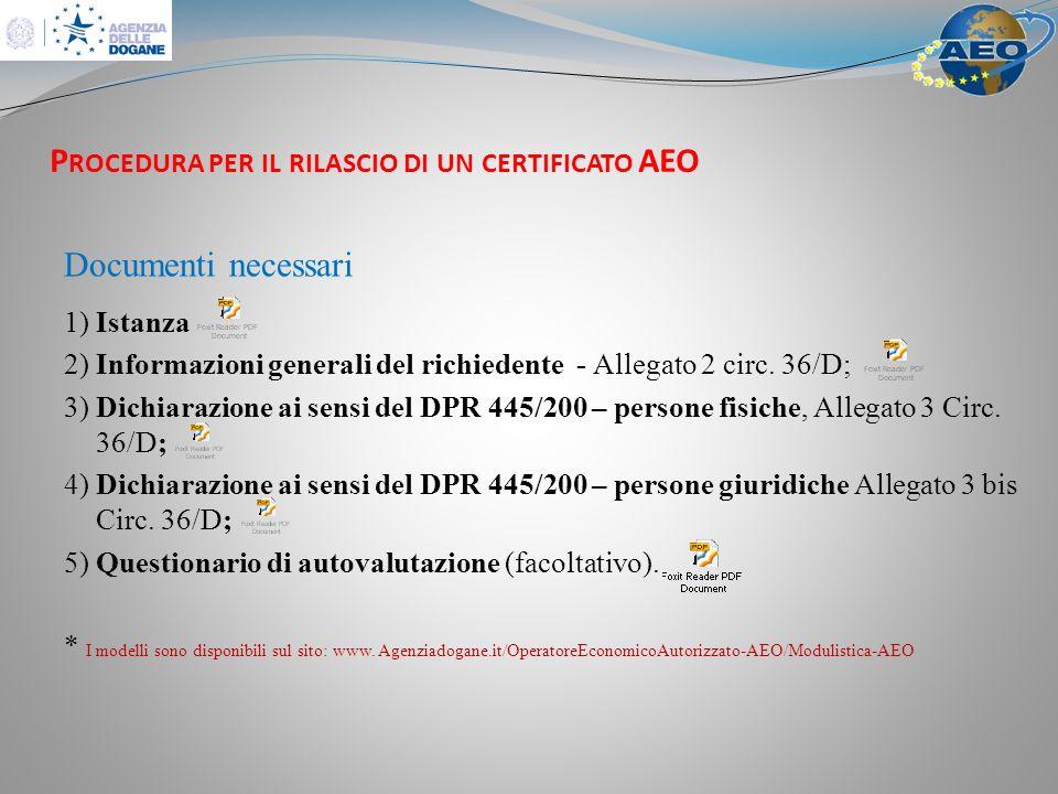 P ROCEDURA PER IL RILASCIO DI UN CERTIFICATO AEO Documenti necessari 1) Istanza 2) Informazioni generali del richiedente - Allegato 2 circ.