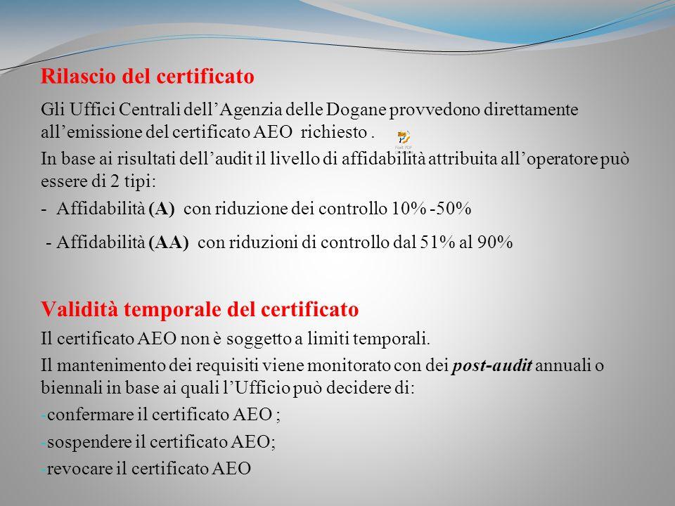 Rilascio del certificato Gli Uffici Centrali dellAgenzia delle Dogane provvedono direttamente allemissione del certificato AEO richiesto.