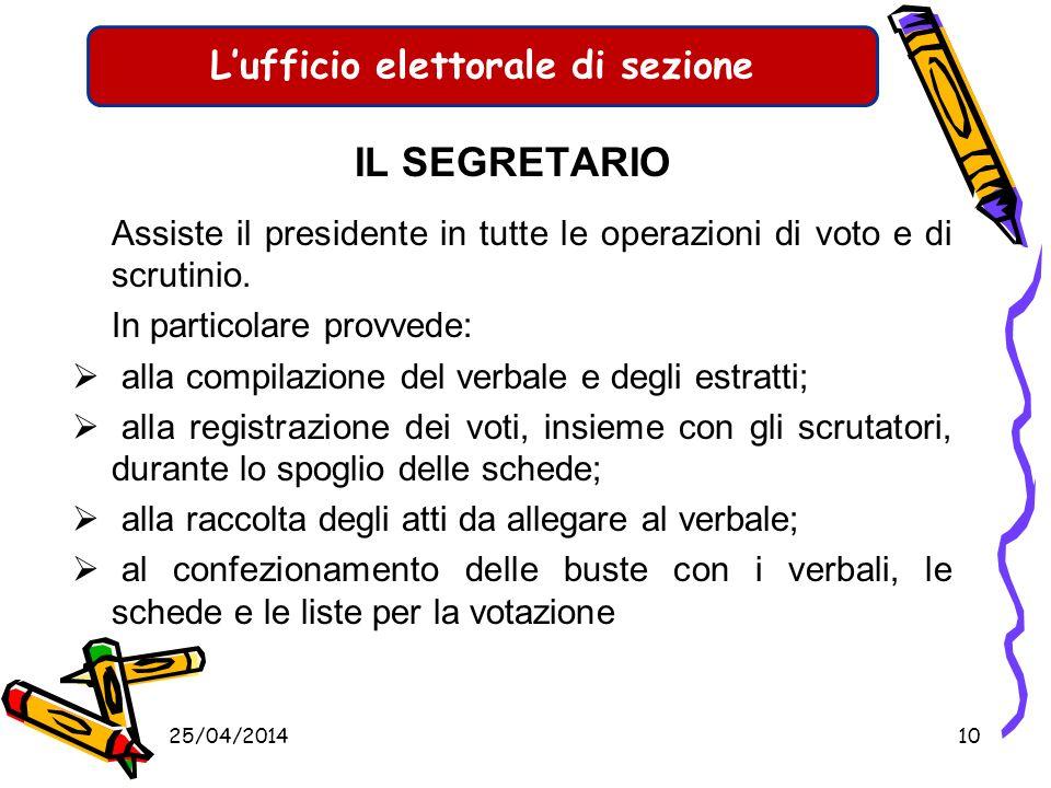 25/04/20149 Lufficio elettorale di sezione GLI SCRUTATORI Gli scrutatori danno inoltre parere al Presidente nei casi indicati dalla legge o su sua ric