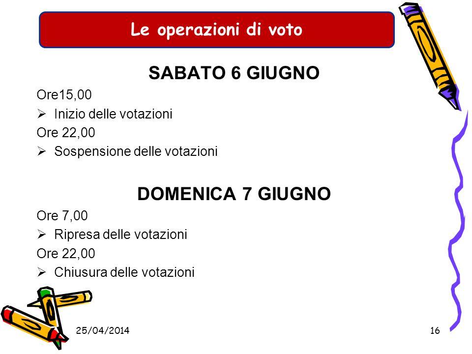 Le operazioni preliminari al voto SABATO 6 GIUGNO Entro le ore 9,00 presa in carico del materiale occorrente per la votazione costituzione dellufficio