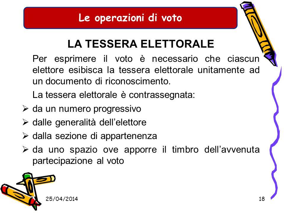 Le operazioni di voto IDENTIFICAZIONE DELLELETTORE Lelettore deve essere identificato mediante: Presentazione di un documento di identificazione (cart