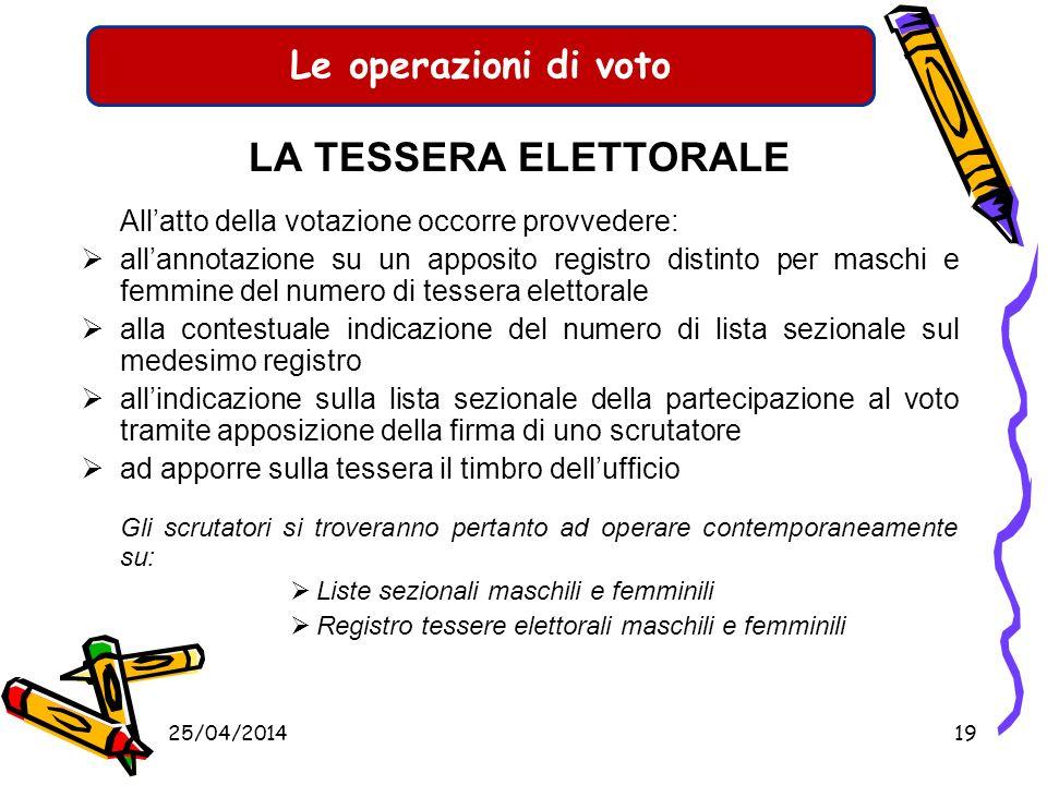 Le operazioni di voto LA TESSERA ELETTORALE Per esprimere il voto è necessario che ciascun elettore esibisca la tessera elettorale unitamente ad un do