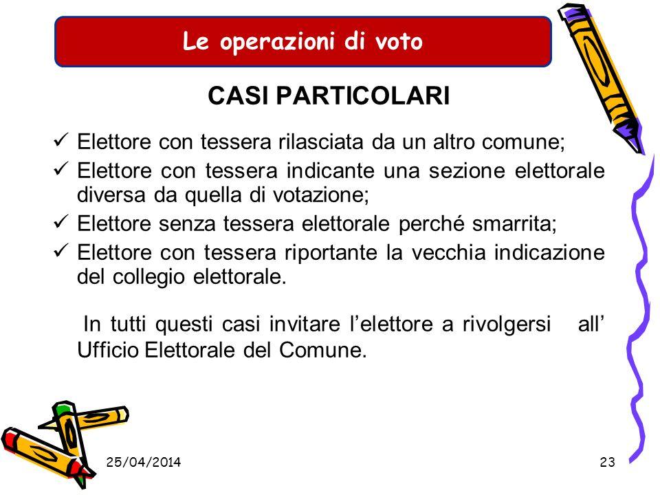 Le operazioni di voto CASI PARTICOLARI Durante le operazioni di voto possono verificarsi tanti casi particolari. I più comuni: Lelettore che, non iscr
