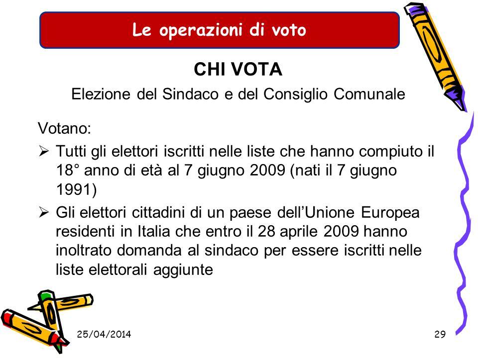 Le operazioni di voto CHI VOTA Elezione del presidente della Provincia e del Consiglio Provinciale Votano: Tutti gli elettori iscritti nelle liste che