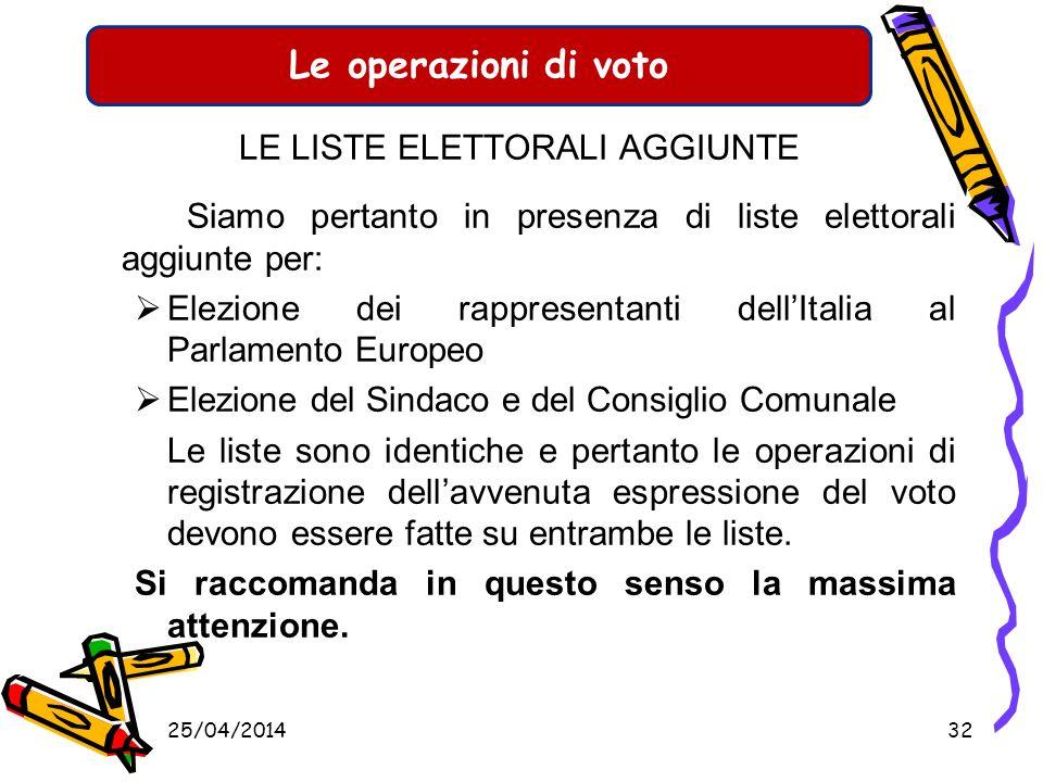 Le operazioni di voto LE LISTE ELETTORALI AGGIUNTE Gli elettori cittadini di un pese dellunione europea residenti in Italia che hanno chiesto di votar