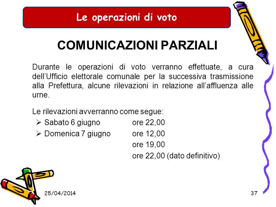 Le operazioni di voto CHIUSURA DELLE OPERAZIONI Le operazioni di voto vengono sospese alle ore 22,00 di sabato 6 giugno, riprendono alle ore 7,00 di d