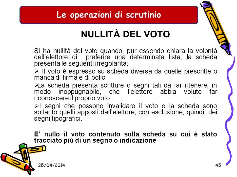 Le operazioni di scrutinio Una scheda valida deve contenere un solo voto di lista valido. Pertanto il totale dei voti validi attribuiti alle singole l