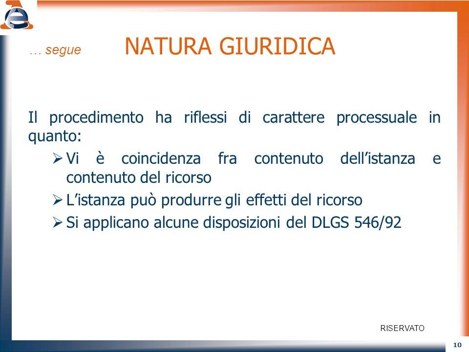 10 … segue NATURA GIURIDICA Il procedimento ha riflessi di carattere processuale in quanto: Vi è coincidenza fra contenuto dellistanza e contenuto del