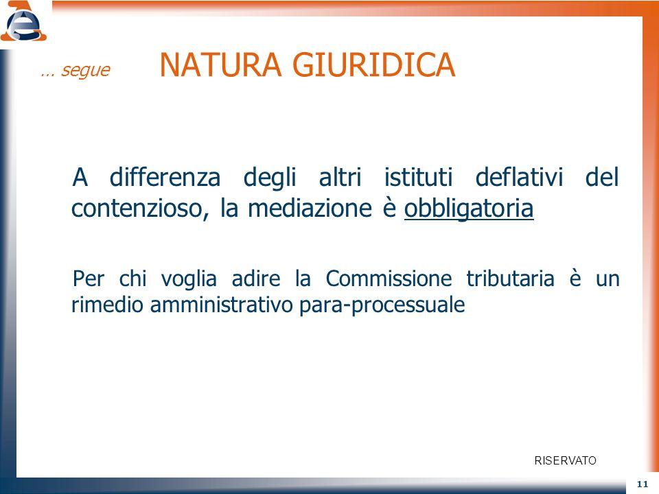 11 … segue NATURA GIURIDICA A differenza degli altri istituti deflativi del contenzioso, la mediazione è obbligatoria Per chi voglia adire la Commissi