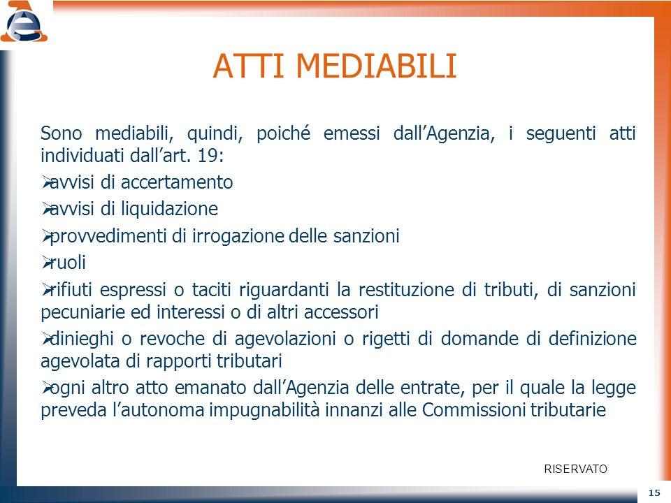 15 ATTI MEDIABILI Sono mediabili, quindi, poiché emessi dallAgenzia, i seguenti atti individuati dallart. 19: avvisi di accertamento avvisi di liquida
