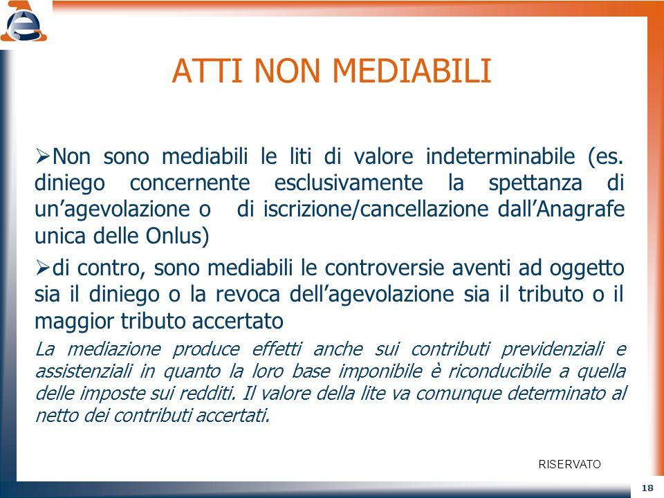 18 ATTI NON MEDIABILI Non sono mediabili le liti di valore indeterminabile (es. diniego concernente esclusivamente la spettanza di unagevolazione o di