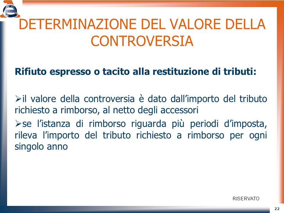 22 DETERMINAZIONE DEL VALORE DELLA CONTROVERSIA Rifiuto espresso o tacito alla restituzione di tributi: il valore della controversia è dato dallimport