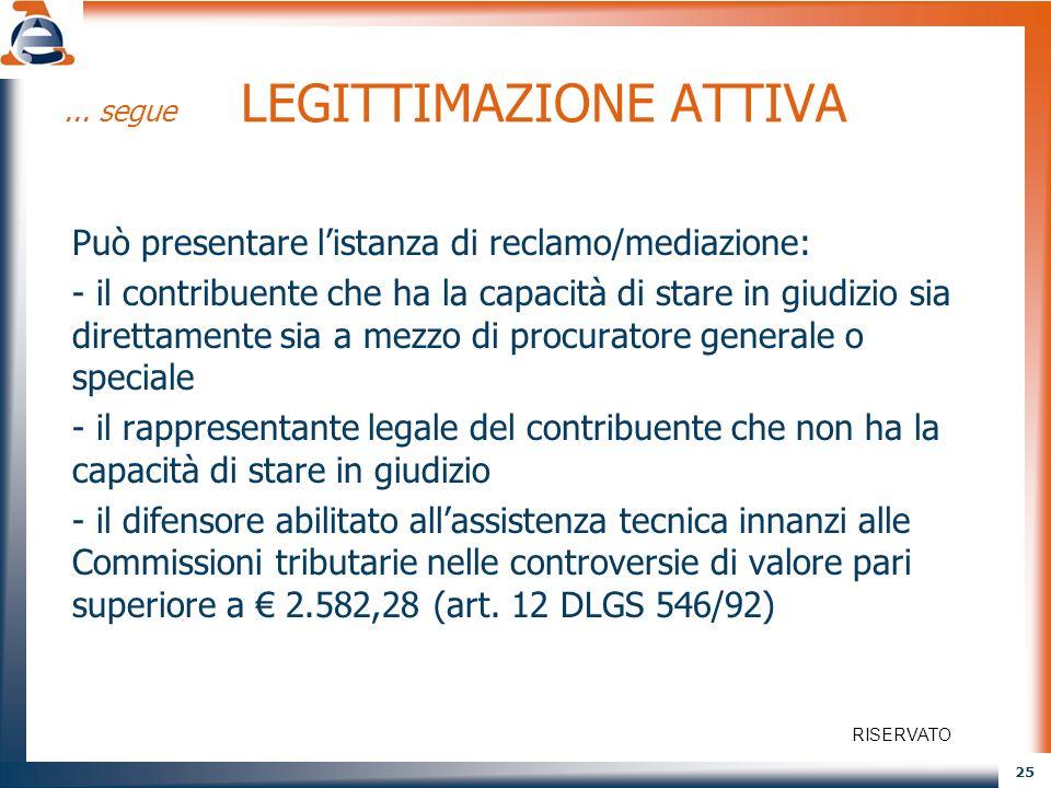 25... segue LEGITTIMAZIONE ATTIVA Può presentare listanza di reclamo/mediazione: - il contribuente che ha la capacità di stare in giudizio sia diretta