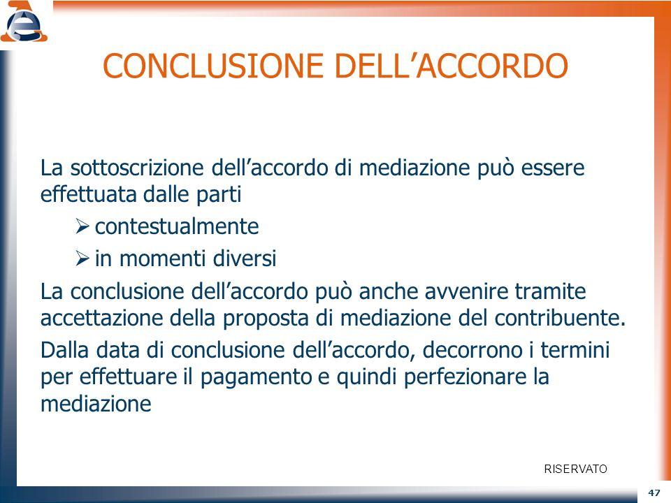47 CONCLUSIONE DELLACCORDO La sottoscrizione dellaccordo di mediazione può essere effettuata dalle parti contestualmente in momenti diversi La conclus