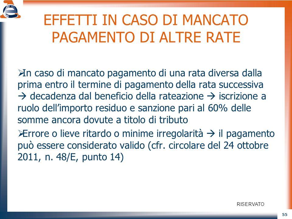 55 EFFETTI IN CASO DI MANCATO PAGAMENTO DI ALTRE RATE In caso di mancato pagamento di una rata diversa dalla prima entro il termine di pagamento della