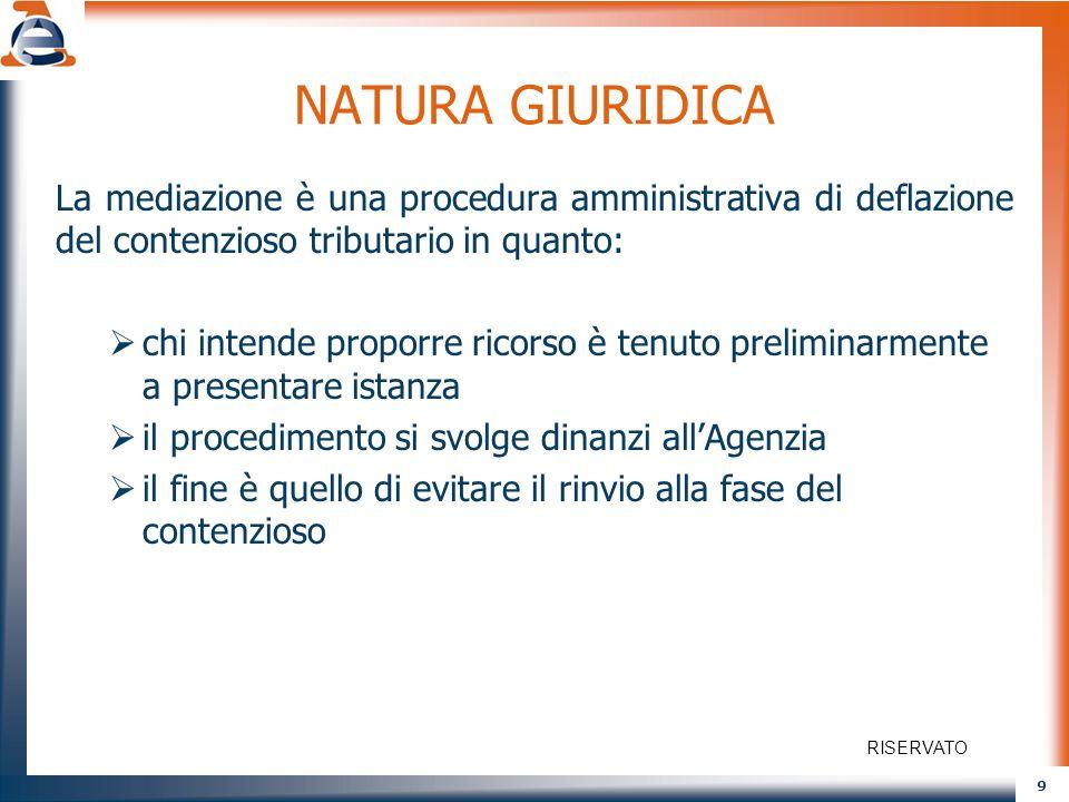 9 NATURA GIURIDICA La mediazione è una procedura amministrativa di deflazione del contenzioso tributario in quanto: chi intende proporre ricorso è ten