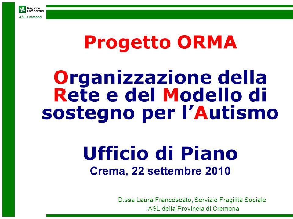 , D.ssa Laura Francescato, Servizio Fragilità Sociale ASL della Provincia di Cremona Progetto ORMA Organizzazione della Rete e del Modello di sostegno