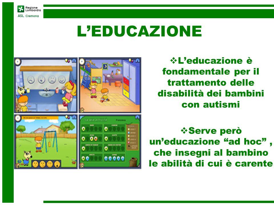 LEDUCAZIONE Leducazione è fondamentale per il trattamento delle disabilità dei bambini con autismi Serve però uneducazione ad hoc, che insegni al bamb