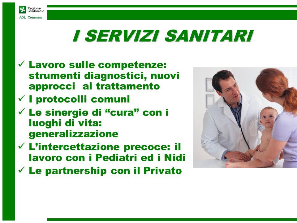 I SERVIZI SANITARI Lavoro sulle competenze: strumenti diagnostici, nuovi approcci al trattamento I protocolli comuni Le sinergie di cura con i luoghi