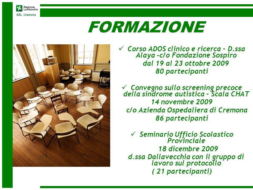 FORMAZIONE Corso ADOS clinico e ricerca – D.ssa Alaya -c/o Fondazione Sospiro dal 19 al 23 ottobre 2009 80 partecipanti Convegno sullo screening preco
