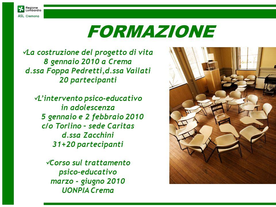 FORMAZIONE La costruzione del progetto di vita 8 gennaio 2010 a Crema d.ssa Foppa Pedretti,d.ssa Vailati 20 partecipanti Lintervento psico-educativo i