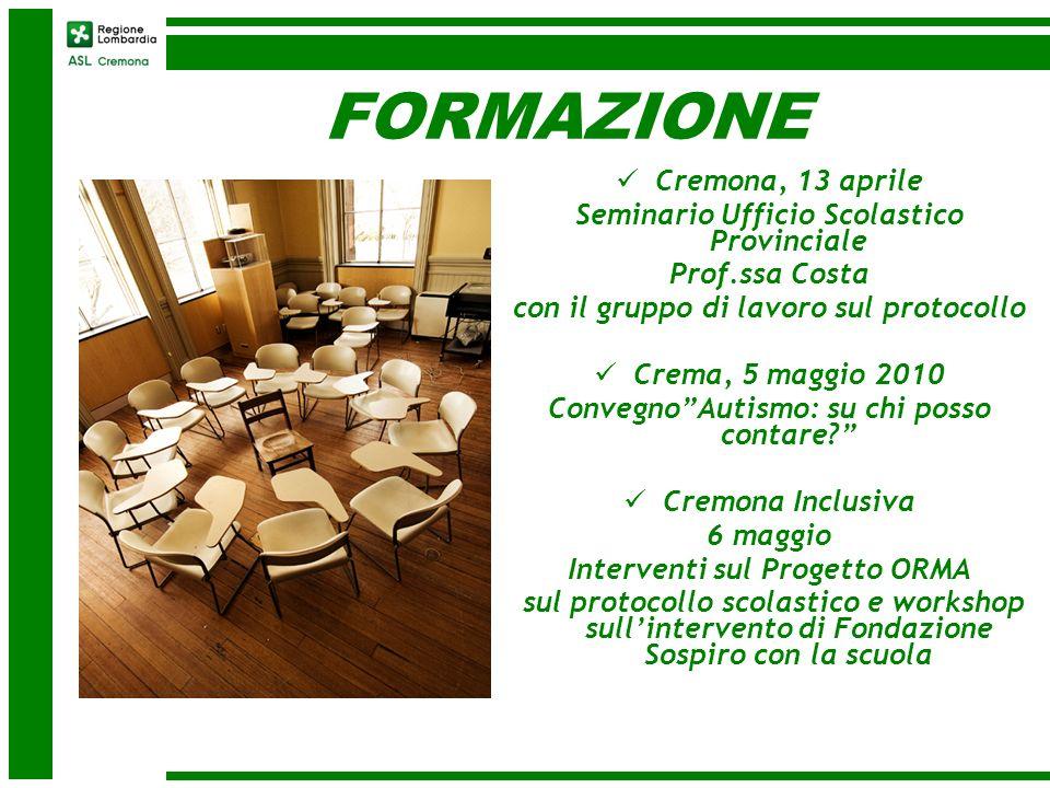 FORMAZIONE Cremona, 13 aprile Seminario Ufficio Scolastico Provinciale Prof.ssa Costa con il gruppo di lavoro sul protocollo Crema, 5 maggio 2010 Conv