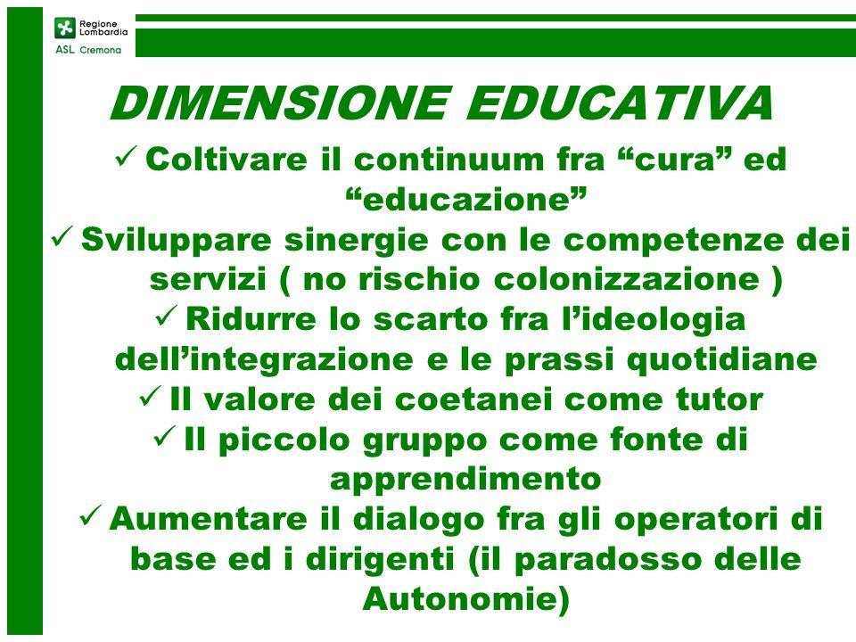 DIMENSIONE EDUCATIVA Coltivare il continuum fra cura ed educazione Sviluppare sinergie con le competenze dei servizi ( no rischio colonizzazione ) Rid