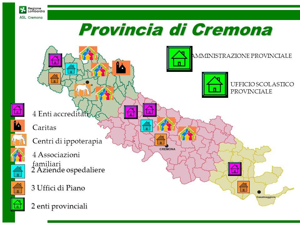 Provincia di Cremona 2 Aziende ospedaliere 3 Uffici di Piano 2 enti provinciali 4 Enti accreditati Caritas Centri di ippoterapia 4 Associazioni famili