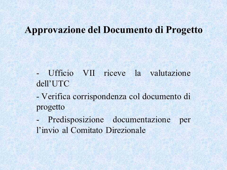 Approvazione del Documento di Progetto - Ufficio VII riceve la valutazione dellUTC - Verifica corrispondenza col documento di progetto - Predisposizione documentazione per linvio al Comitato Direzionale