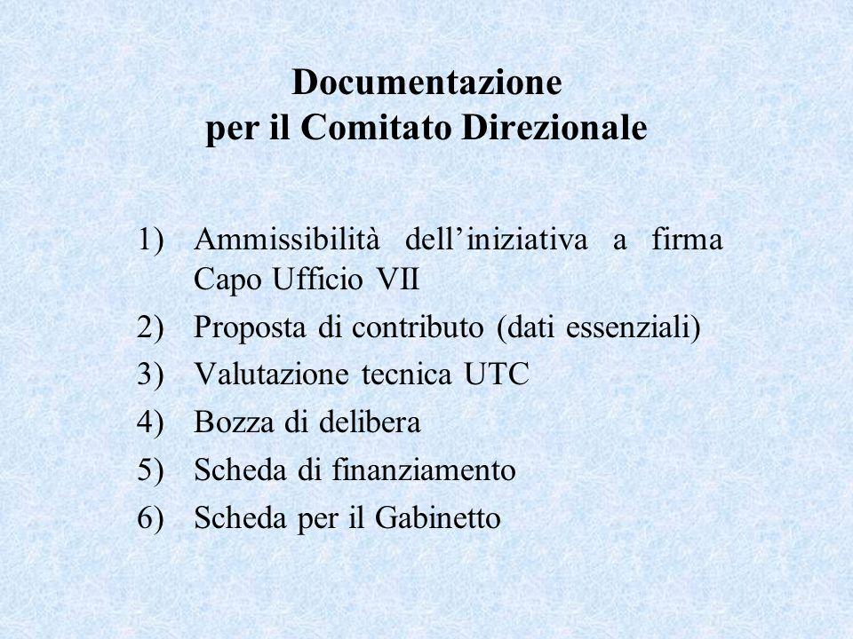 Documentazione per il Comitato Direzionale 1)Ammissibilità delliniziativa a firma Capo Ufficio VII 2)Proposta di contributo (dati essenziali) 3)Valutazione tecnica UTC 4)Bozza di delibera 5)Scheda di finanziamento 6)Scheda per il Gabinetto