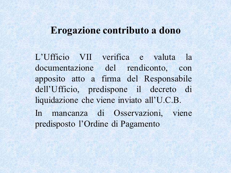 Erogazione contributo a dono LUfficio VII verifica e valuta la documentazione del rendiconto, con apposito atto a firma del Responsabile dellUfficio, predispone il decreto di liquidazione che viene inviato allU.C.B.