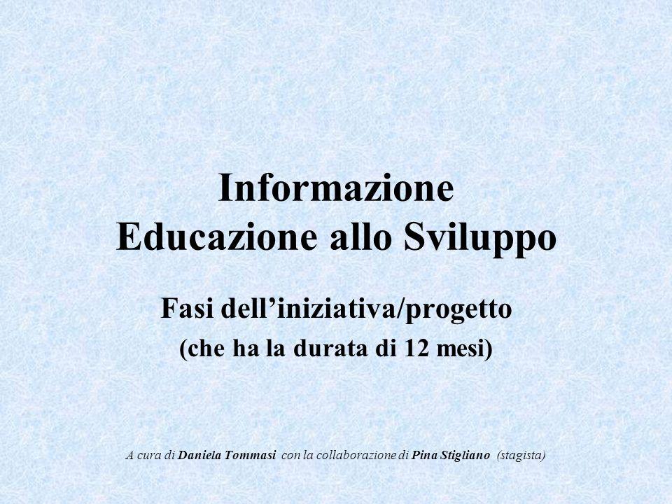 Informazione Educazione allo Sviluppo Fasi delliniziativa/progetto (che ha la durata di 12 mesi) A cura di Daniela Tommasi con la collaborazione di Pina Stigliano (stagista)
