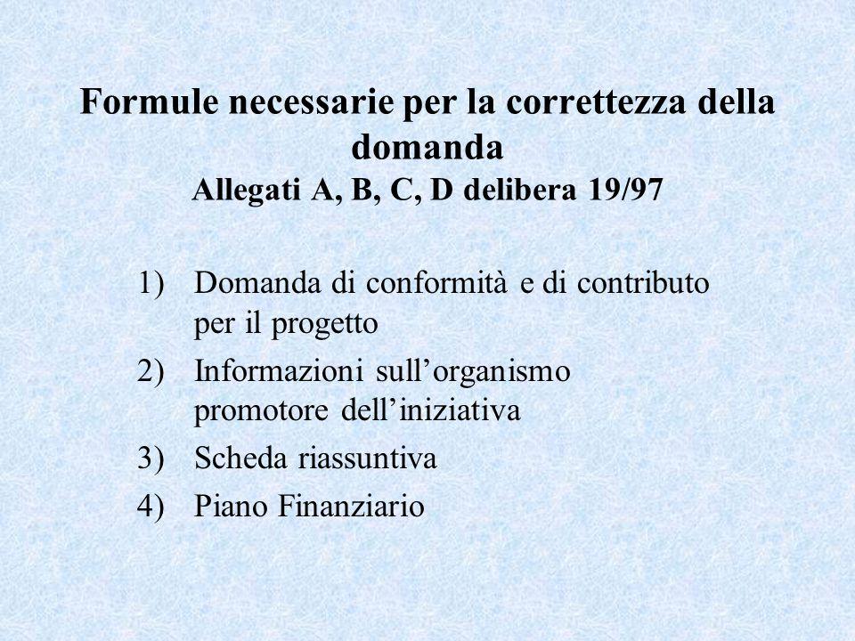 Formule necessarie per la correttezza della domanda Allegati A, B, C, D delibera 19/97 1)Domanda di conformità e di contributo per il progetto 2)Infor