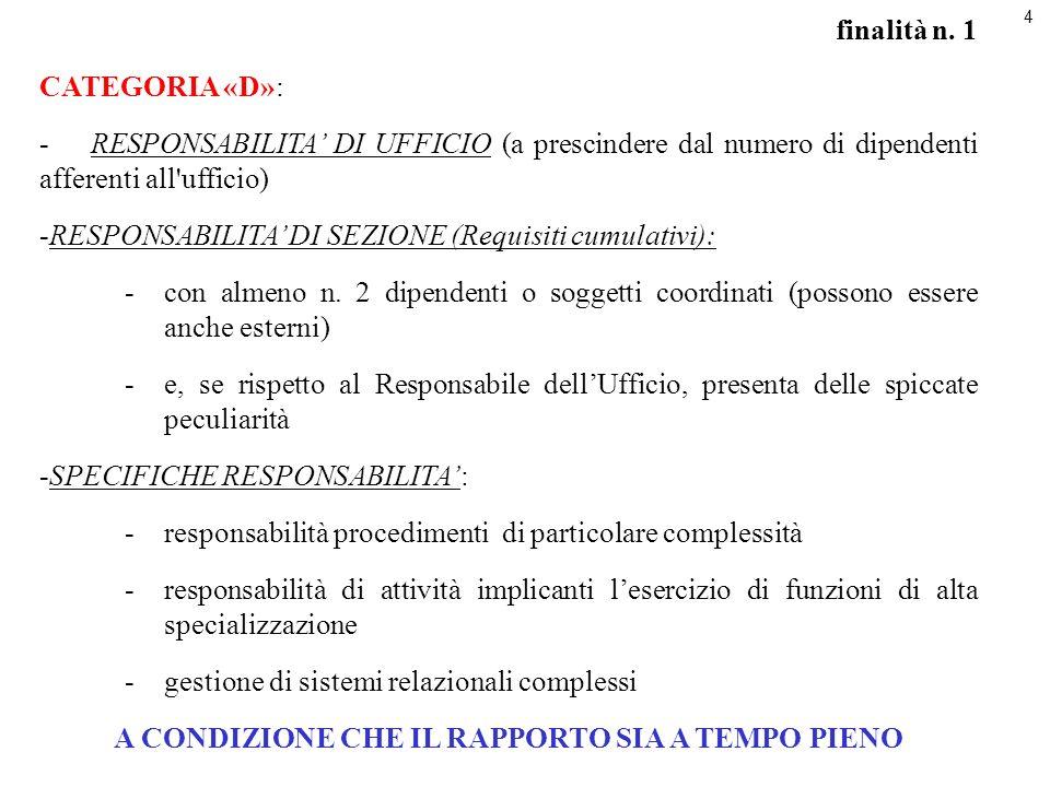 4 finalità n. 1 CATEGORIA «D»: -RESPONSABILITA DI UFFICIO (a prescindere dal numero di dipendenti afferenti all'ufficio) -RESPONSABILITA DI SEZIONE (R