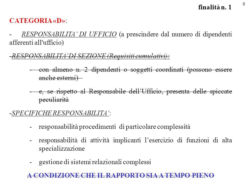 6 finalità n. 1 CATEGORIA «D»: -RESPONSABILITA DI UFFICIO (a prescindere dal numero di dipendenti afferenti all'ufficio) -RESPONSABILITA DI SEZIONE (R