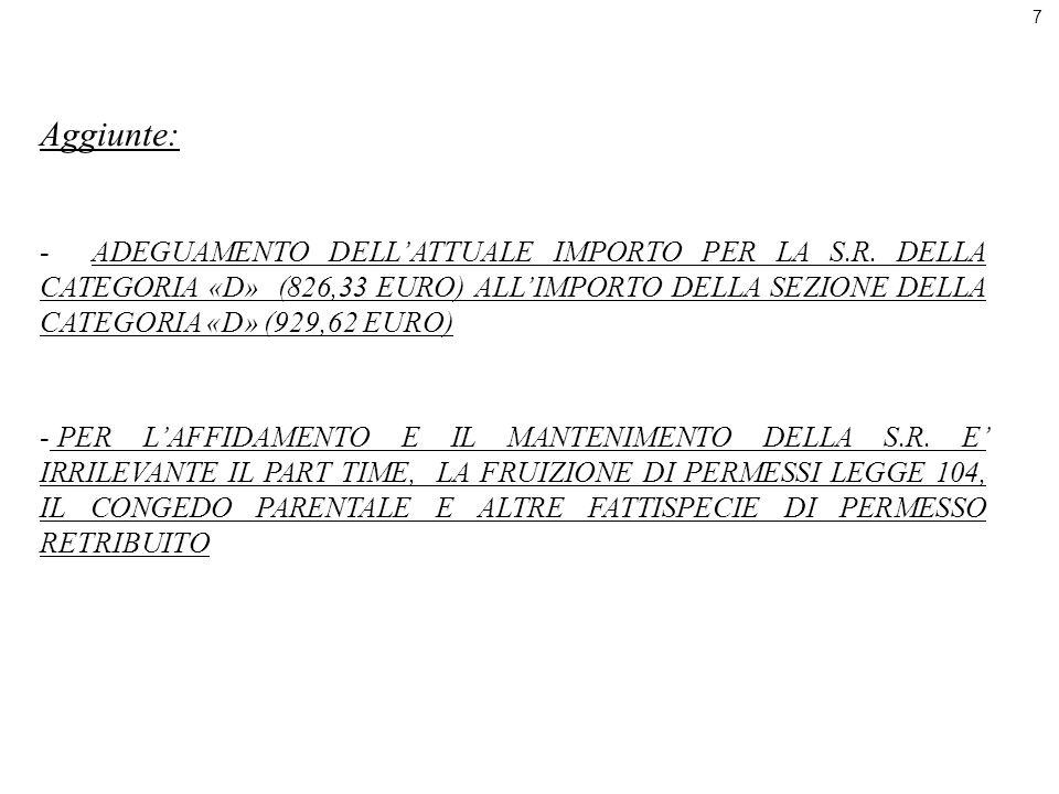 7 Aggiunte: -ADEGUAMENTO DELLATTUALE IMPORTO PER LA S.R. DELLA CATEGORIA «D» (826,33 EURO) ALLIMPORTO DELLA SEZIONE DELLA CATEGORIA «D» (929,62 EURO)