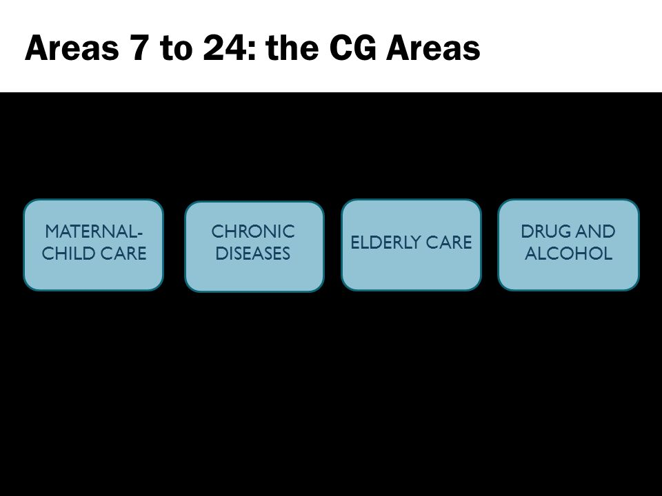 MATERNAL- CHILD CARE CHRONIC DISEASES ELDERLY CARE DRUG AND ALCOHOL