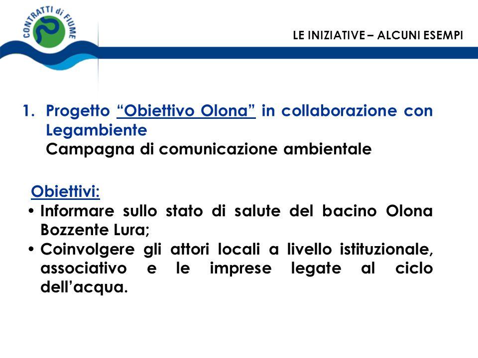 1.Progetto Obiettivo Olona in collaborazione con Legambiente Campagna di comunicazione ambientale Obiettivi: Informare sullo stato di salute del bacin