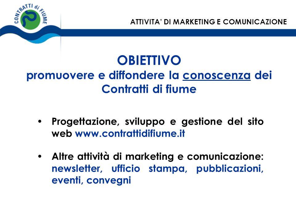 OBIETTIVO promuovere e diffondere la conoscenza dei Contratti di fiume Progettazione, sviluppo e gestione del sito web www.contrattidifiume.it Altre a
