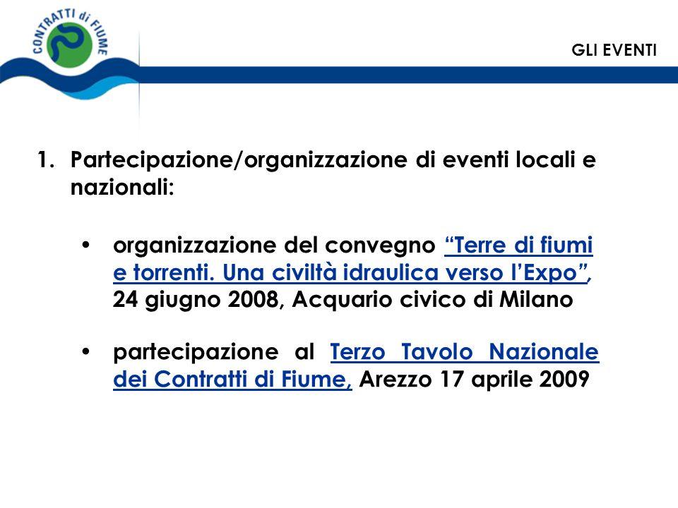 organizzazione del convegno Terre di fiumi e torrenti. Una civiltà idraulica verso lExpo, 24 giugno 2008, Acquario civico di Milano 1.Partecipazione/o